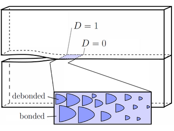 Damage area fraction, D, is determined from a rate-dependent evolution law.