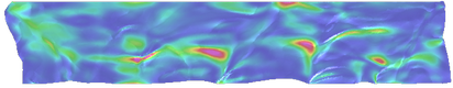 Stick-slip-separation oscillatory waves propagate along the brake/disk contact surface. Height field: velocity; Color field: strain energy.
