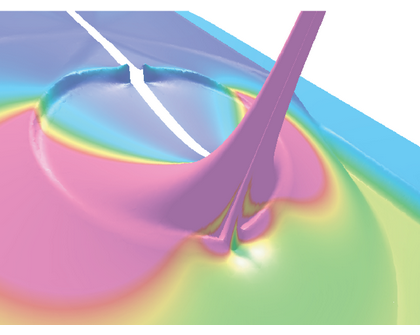 Our very accurate solutions, from the use of SDG method and a secondary error indicator on the fracture surface, led to the discovery of quasi-singular velocity field for cohesive models. Height field: velocity magnitude; Color field: log(strain energy).